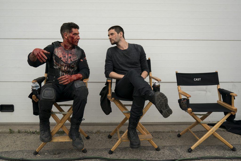 Pictured, Jon Bernthal & Ben Barnes. (Frank Castle/Billy Russo from The Punisher). Photo credit, Cara Howe/Netflix. Courtesy, Netflix.