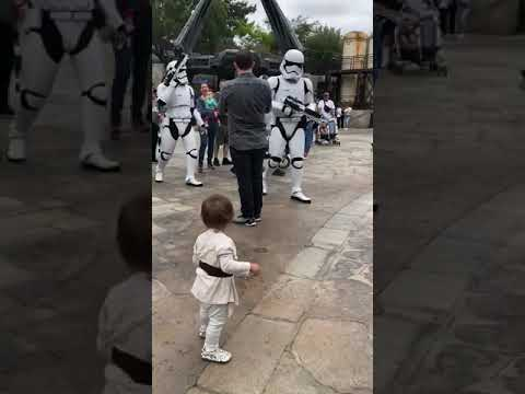 Fun vid from Star Wars Disneyland shows young Jedi facing off against stormtroopers
